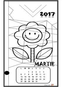 Calendar de colorat - MARTIE