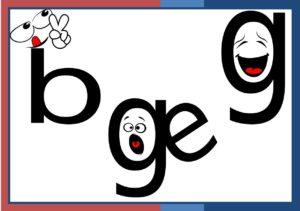 Literele b, B, g, G, grupul de litere ge, Ge