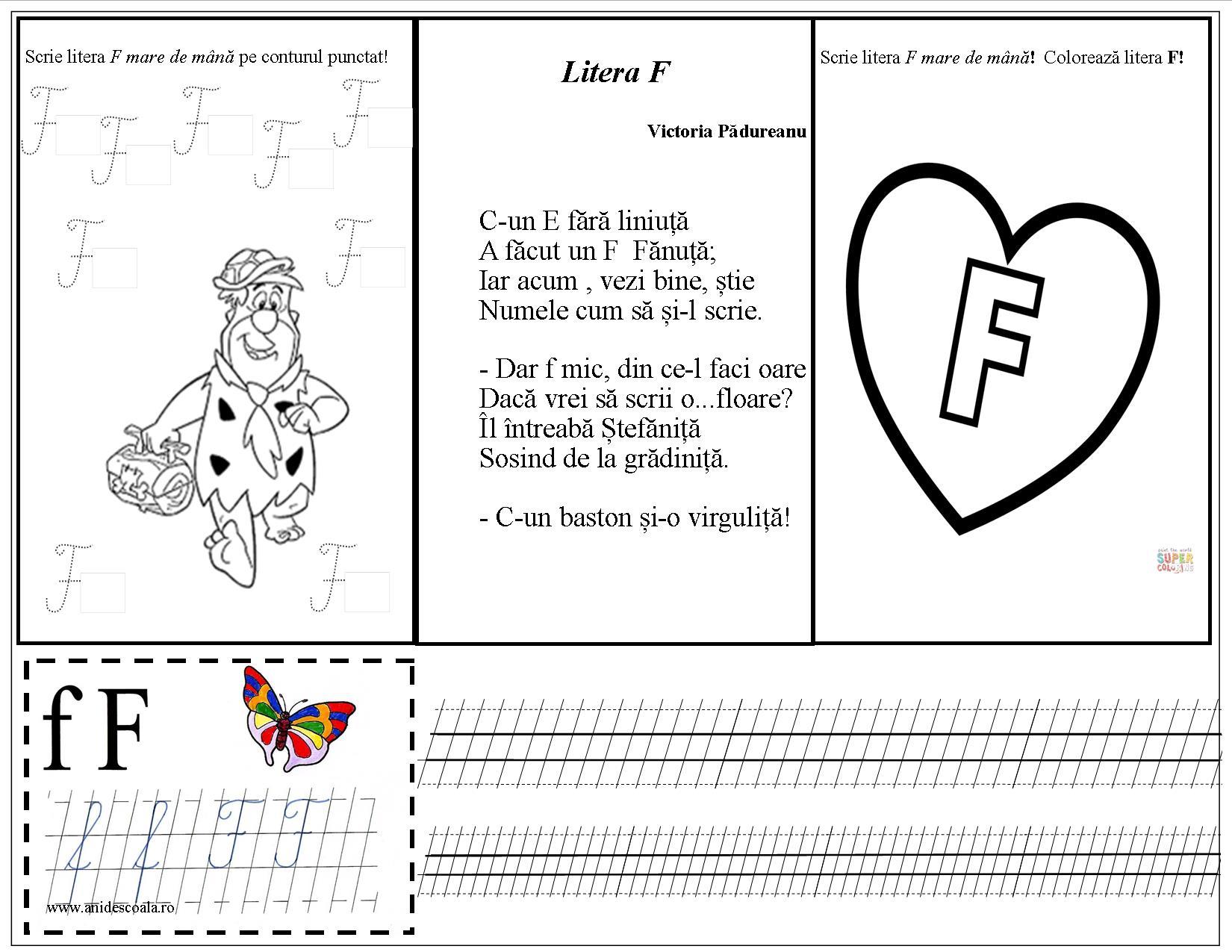 Litera F Mare De Tipar și De Mână Fata Babei și Fata Moșneagului