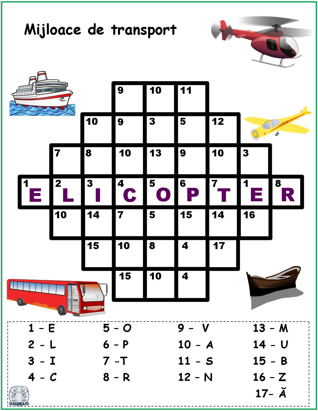 Cuvinte codificate - Mijloace de transport