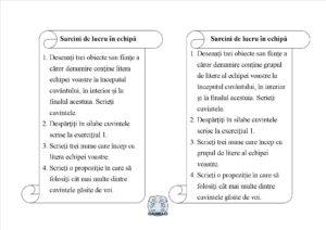 Literele și grupurile de litere - Sarcini de lucru în echipă