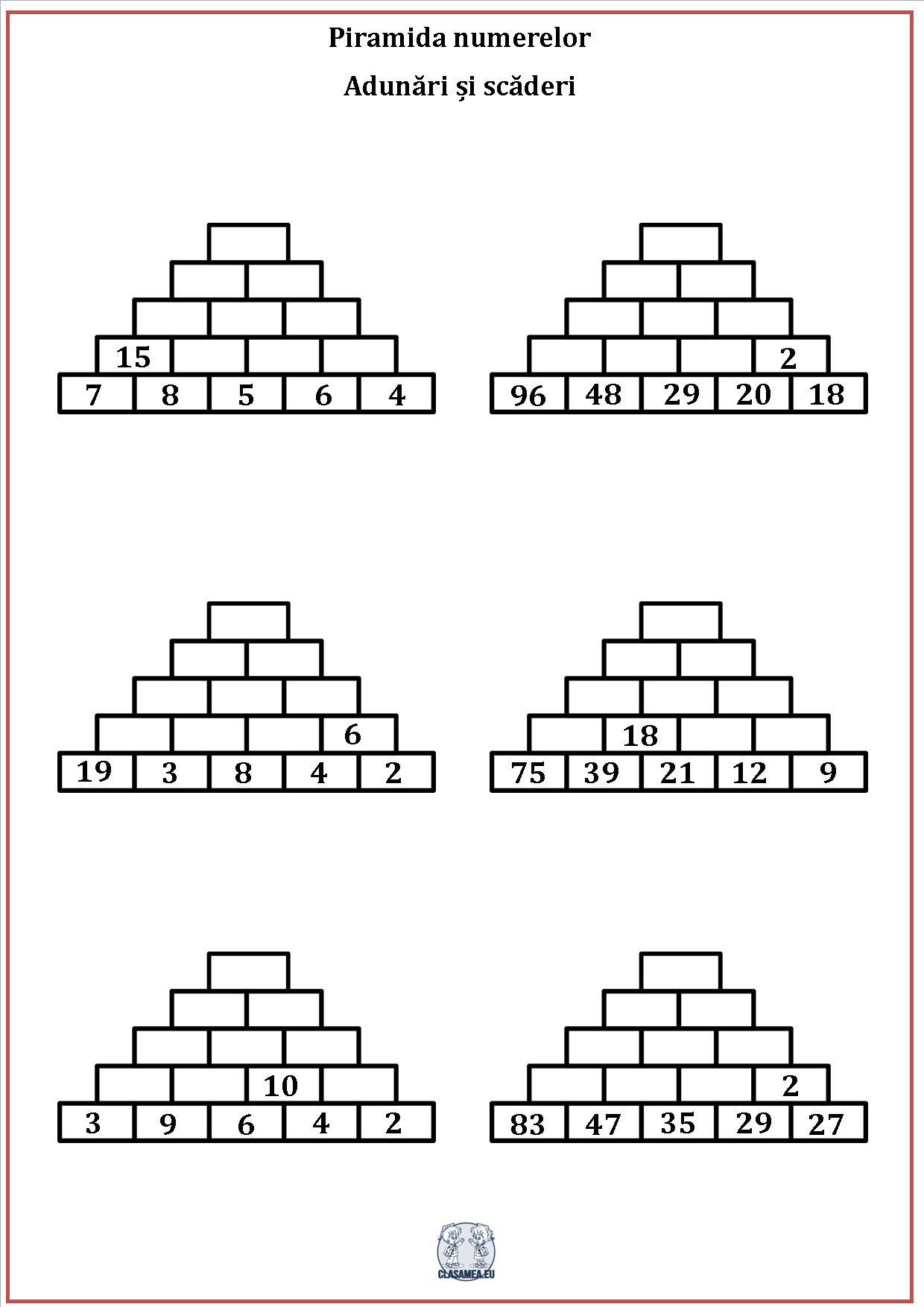 Piramida numerelor - Adunări și scăderi 1
