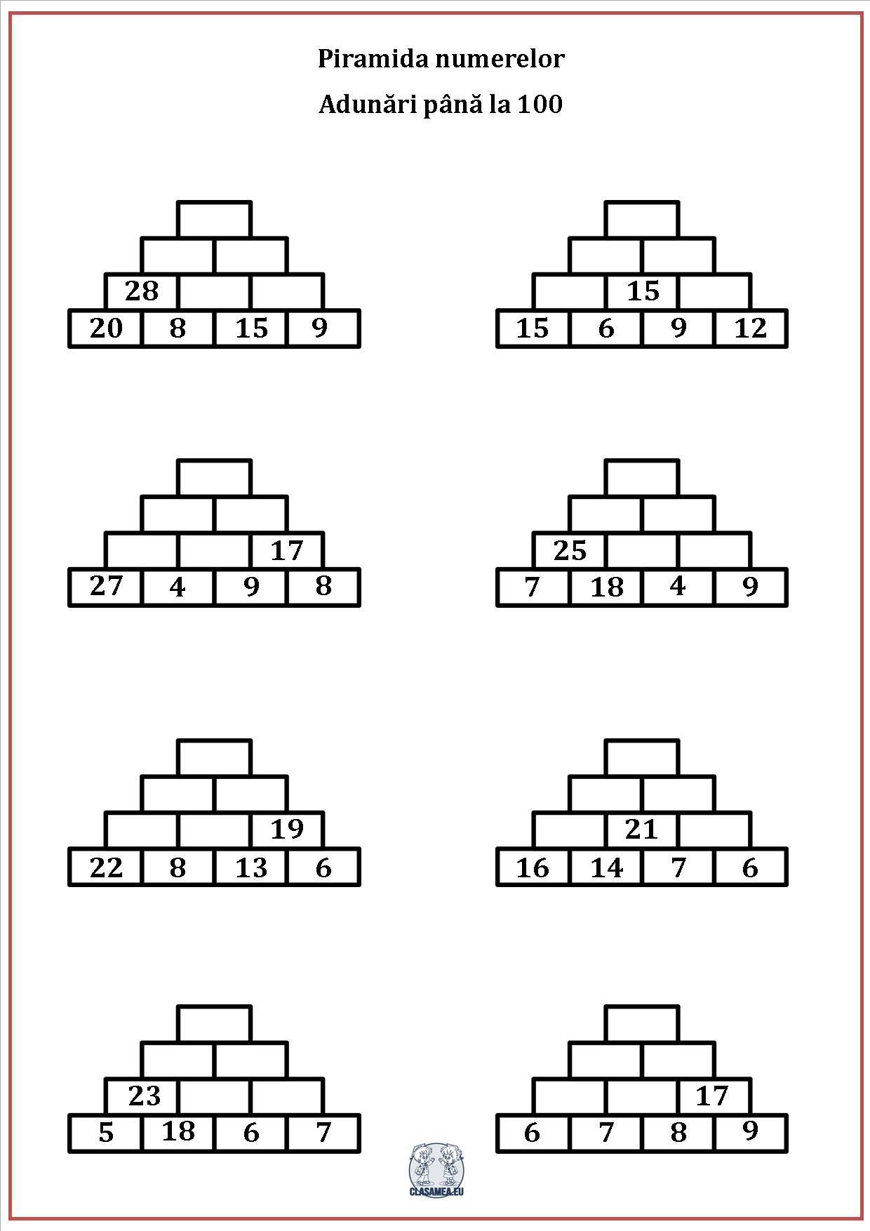 Piramida numerelor - Adunări până la 100