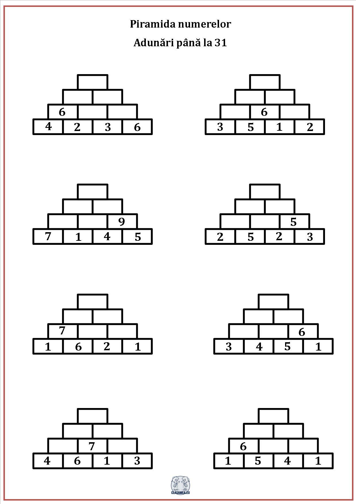 Piramida numerelor - Adunarea numerelor până la 31