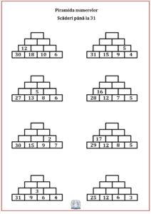 Piramida numerelor - Scăderea numerelor până la 31