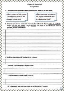 Recapitularea semnelor de punctuație -Fișă de lucru p.1