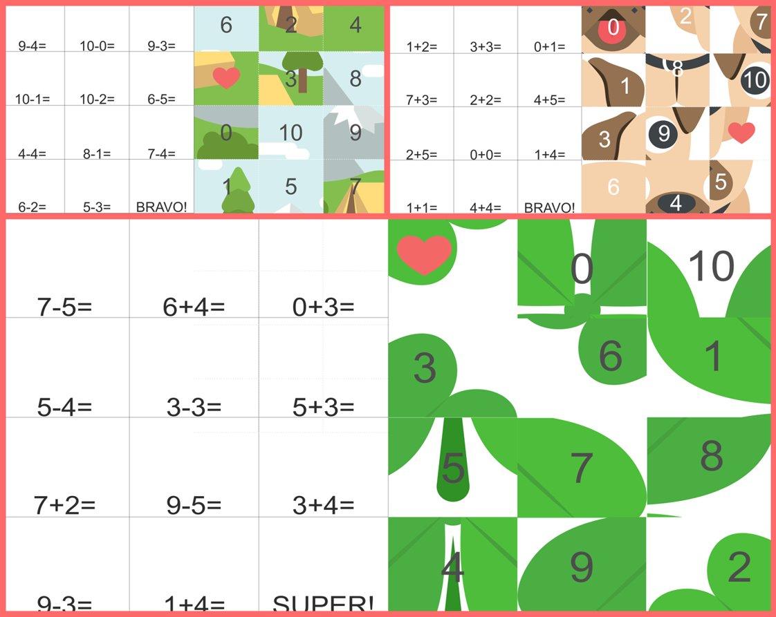 puzzle cu adunări și scăderi